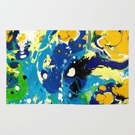 Marble Ink in Blue Yellow Green Black White Rug