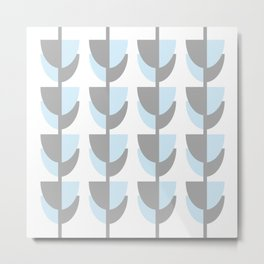 Tulips In Spring Time - Grey and Blue on White - Spring Time Series Metal Print