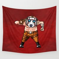 psycho Wall Tapestries featuring BORDERLANDS PSYCHO by DROIDMONKEY