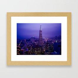 San Francisco Skyline at Night (Transamerica Pyramid) Framed Art Print