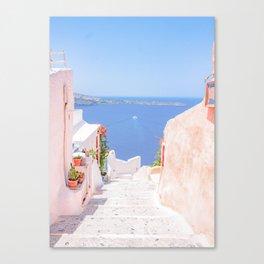 Santorini Greece Mamma Mia pink street travel photography Canvas Print