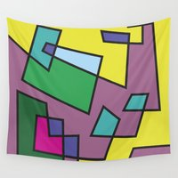 labyrinth Wall Tapestries featuring Color Labyrinth 01 by ARTIPRAKTI by Laura Werbin