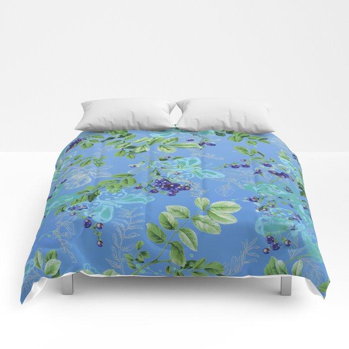 blueberries and butterflies Comforters