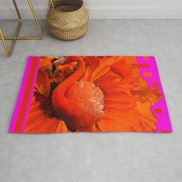 ART DECO  Saffron Flamingo Orange  Fuchsia Fantasy Painting Rug