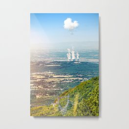 French nuclear power station creating clouds with electricity pylon Metal Print