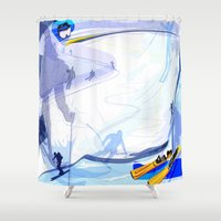 skiing Shower Curtains featuring Downhill Skiing by Robin Curtiss
