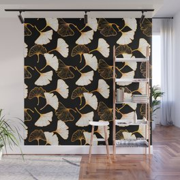 Ginkgo Leaf (Golden Calico) - Black Wall Mural