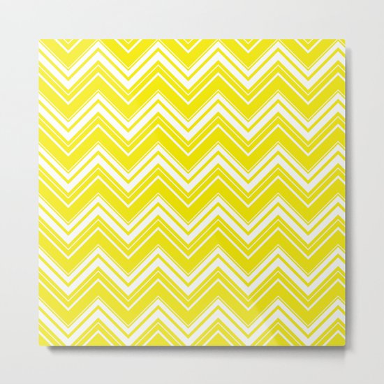 Sunny Yellow Chevron pattern - Mix & Match with Simplicity of Life Metal Print