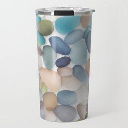Assorted multicolored glass pebbles Travel Mug