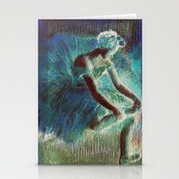 degas Stationery Cards featuring Ballerina Teal by PureVintageLove