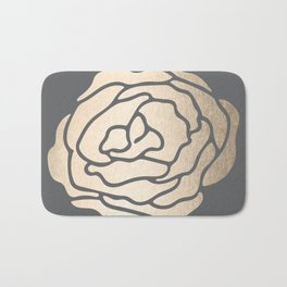 Rose in White Gold Sands on Storm Gray Bath Mat