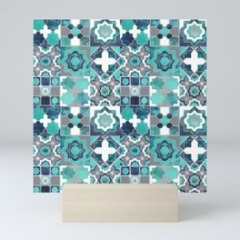 Spanish moroccan tiles inspiration // turquoise green silver lines Mini Art Print