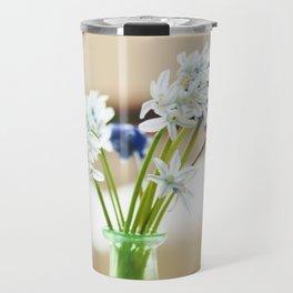 Blue and white flowers in green vase Travel Mug