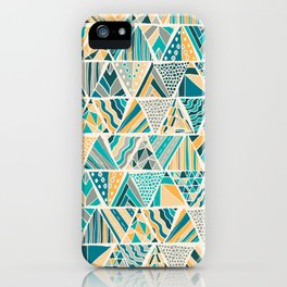 Hand Drawn Geometric Triangle Pattern Design - Green and Yellow iPhone Case