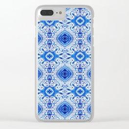 Indigo Mandala Pattern Clear iPhone Case