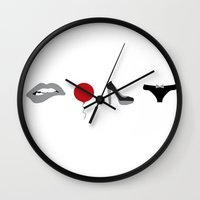 rocky horror picture show Wall Clocks featuring Rocky Horror Picture Show Icons by ThoughtfulWish