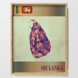 Sri Lanka Map with Flag Serving Tray
