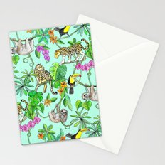 Rainforest Friends - watercolor animals on mint green Stationery Cards