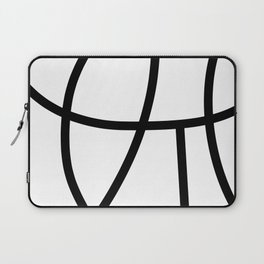 POSITIVE simple black abstract lines on solid white background Laptop Sleeve