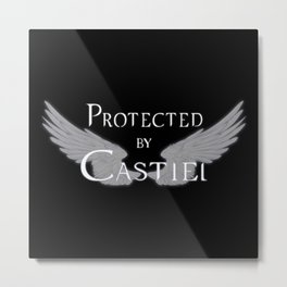 Protected by Castiel White Wings Metal Print