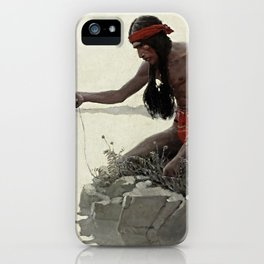 """N C Wyeth Vintage Western Painting """"Fishing"""" iPhone Case"""