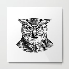 Hipster Owl Suit Woodcut Metal Print
