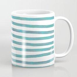 Ocean Green Hand-painted Stripes Coffee Mug