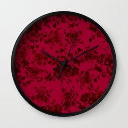 Vintage black gray red bohemian floral pattern Wall Clock