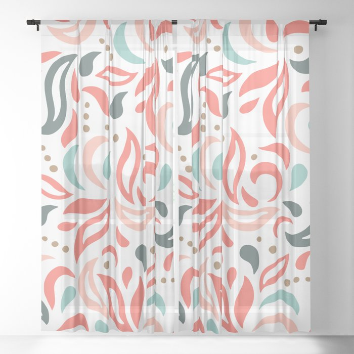 Coral Fest Sheer Curtain