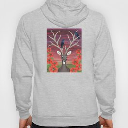 white tailed deer, crows, poppies Hoody