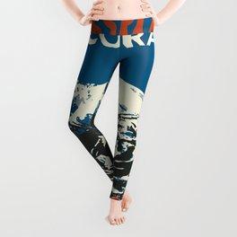 Blue Breckenridge Vintage Ski Poster Leggings