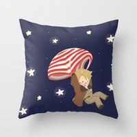 hetalia Throw Pillows featuring Americhute by gohe1090
