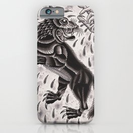Wolf and Hand iPhone Case