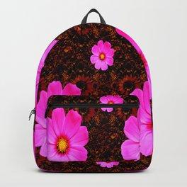 FUCHSIA PINK FLOWERS &  DARK ART Backpack