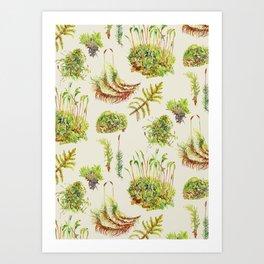 Moss Pattern - Neutral Art Print
