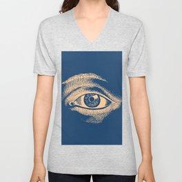 Retro Vintage Blue Eye Pattern Unisex V-Neck