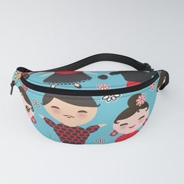 Seamless pattern spanish flamenco dancer. Kawaii cute face with pink cheeks and winking eyes. Fanny Pack