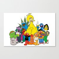 sesame street Canvas Prints featuring Sesame Street Stoners by Instrum