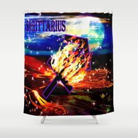 sagittarius Shower Curtains featuring Sagittarius by LBH Dezines