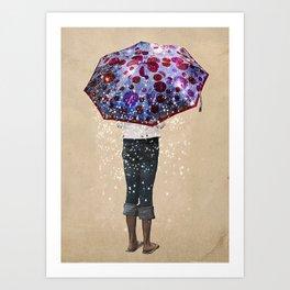 Paraguas     girl, umbrella, galaxie, stars Art Print