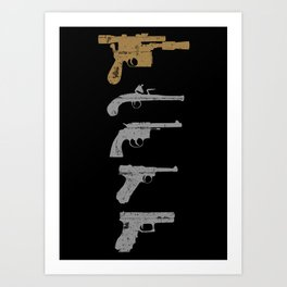 A long time ago with a blaster far, far away... Art Print
