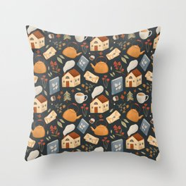 Cozy Cottage Pattern Throw Pillow