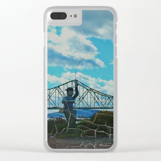 Aged Angler and Fish at the Campelton Bridge Clear iPhone Case