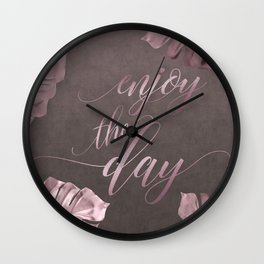 Enjoy The Day Glamour Calligraphy Wall Clock