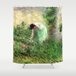 Gisors, France Woman Picking Flowers - Maximilien Luce Shower Curtain
