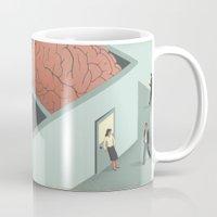 psychology Mugs featuring Brain Room by Davide Bonazzi
