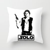 han solo Throw Pillows featuring Han Solo by Mister Munny