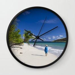 Woman in Blue on Sandy Beach Wall Clock
