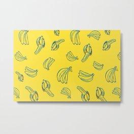 3D Bananas PatternYellow Metal Print