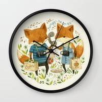 fox Wall Clocks featuring Fox Friends by Teagan White